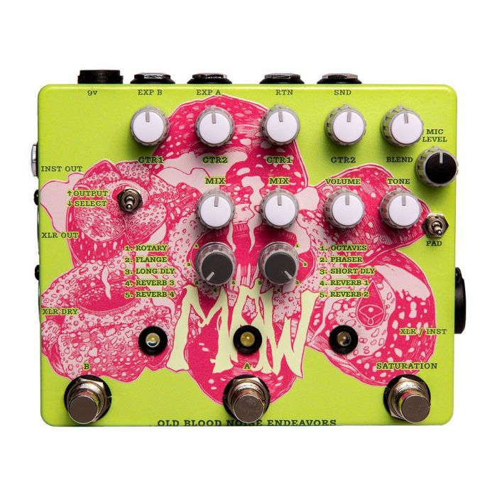 Top down view of a Old Blood Noise Endeavours MAW Vocal effects Pedal