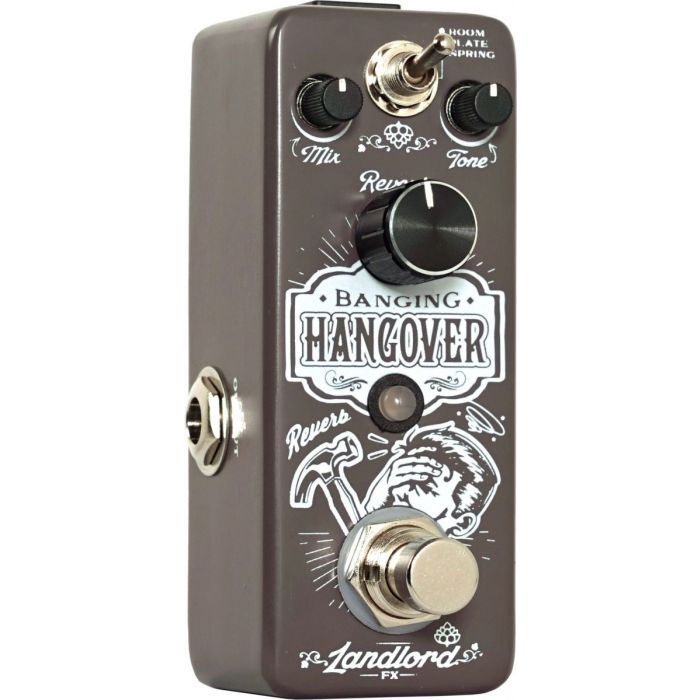 Closeup view of the Landlord FX Banging Hangover reverb pedal