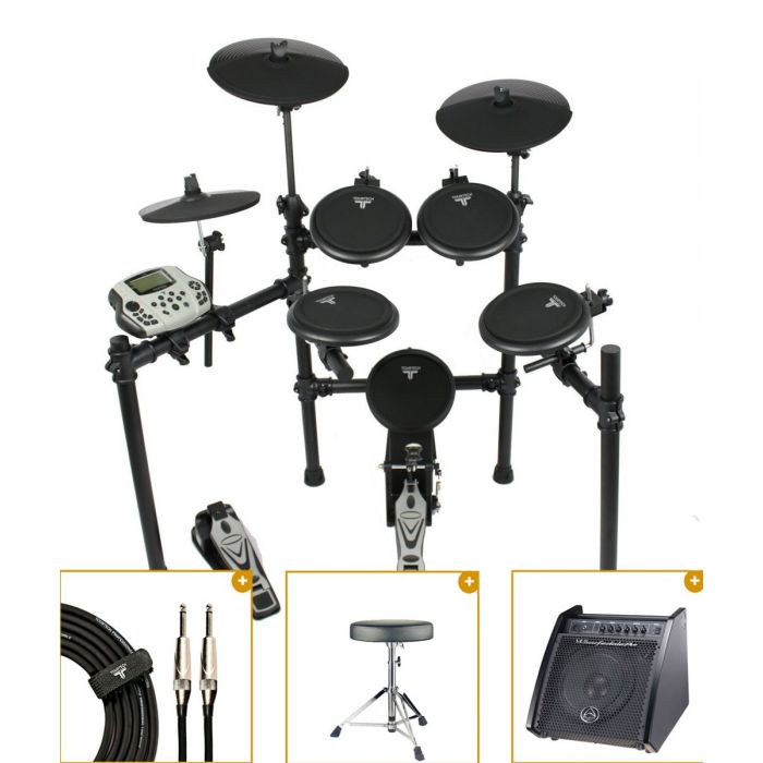 Full view of a TourTech TT-16S Electronic Drum Kit with Monitor bundle