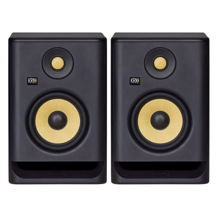 Full frontal view of a pair of KRK Rokit Powered RP5 G4 Active Studio Monitors