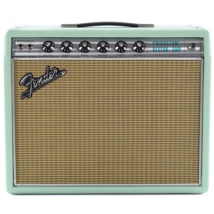Front view of a Fender Special Run 68 Princeton Surf Green G10 Valve Amp