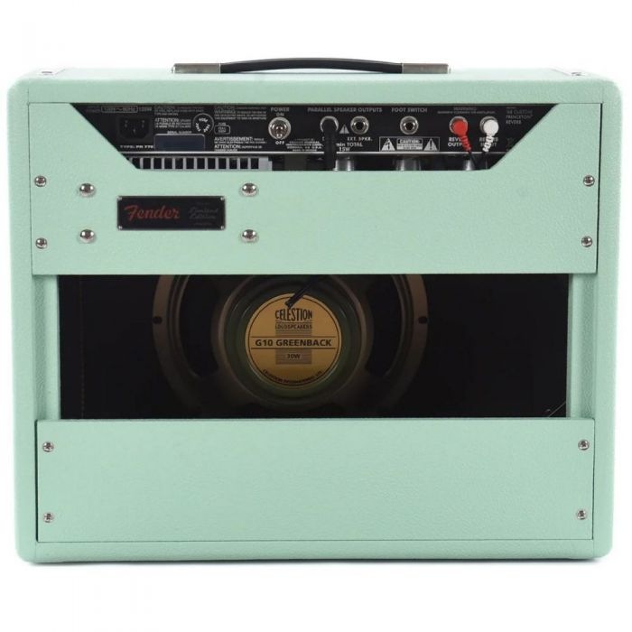 Rear view of the open-backed cabinet of a Fender FSR 68 Princeton Reverb in Surf Green
