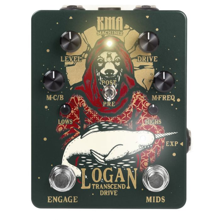 Full top-down view of the KMA Audio Machines Logan overdrive guitar pedal
