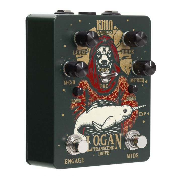 Side on view of the Logan Transcend Drive effects pedal