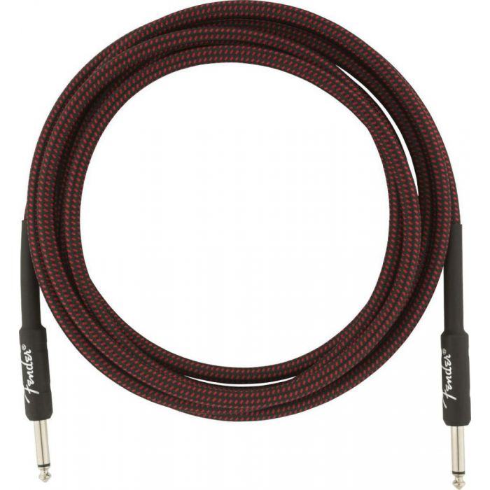 Full view of an un-packaged Fender Professional Series Instrument Cable 10 in Red Tweed