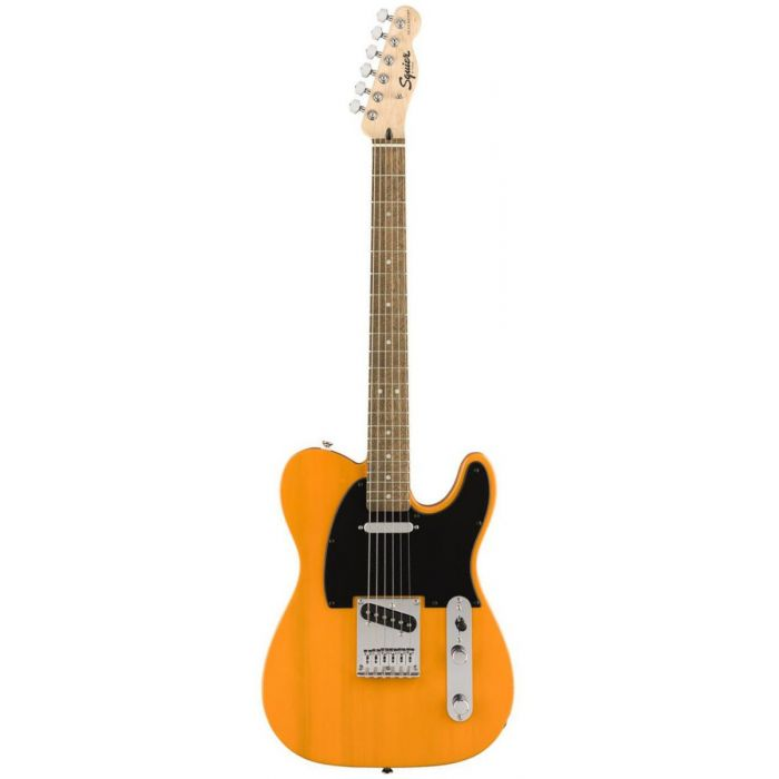 Front view of a limited edition Squier FSR Bullet Telecaster, with a vintage Butterscotch Blonde finish