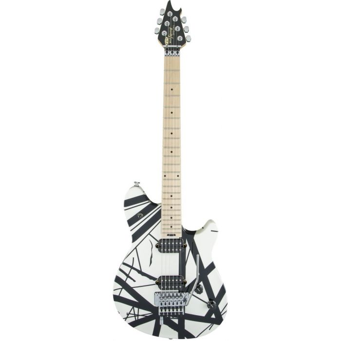 Front view of an EVH Wolfgang Special guitar, with a Maple fretboard and Black Stripes over a white body