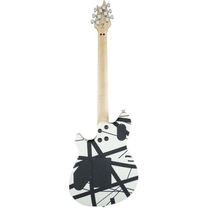 Rear view of a black and white striped EVH Wolfgang Special guitar