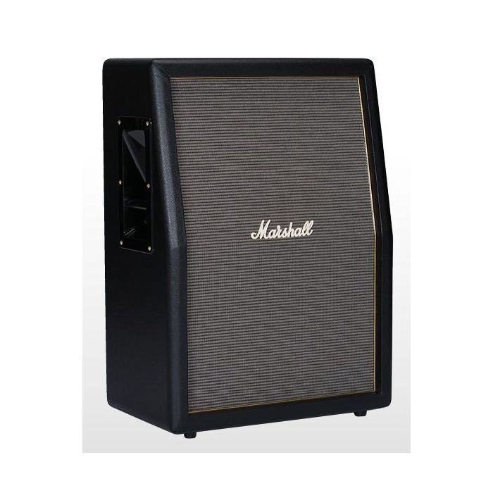 """Front side view of a Marshall Origin 2 x 12"""" angled guitar cabinet"""