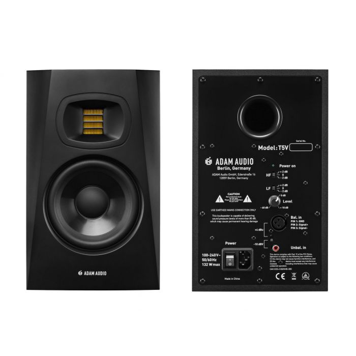 Front and Rear View of Adam Audio T5V Studio Monitors