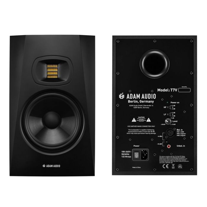 Adam Audio T7V Studio Monitor Front and Rear Views