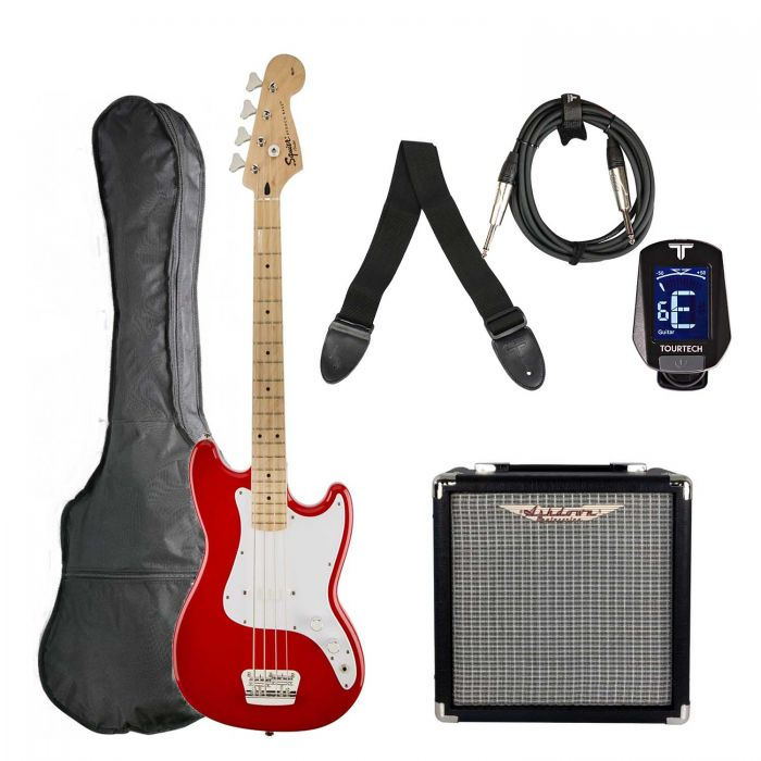 Squier Bronco SS Bass Guitar Starter Pack, Red