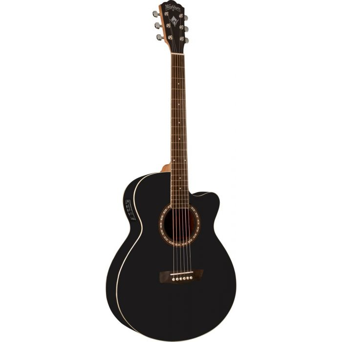 Affordable, high quality electro acoustic guitar from the Washburn Harvest 7 series, with a Black Matte finish