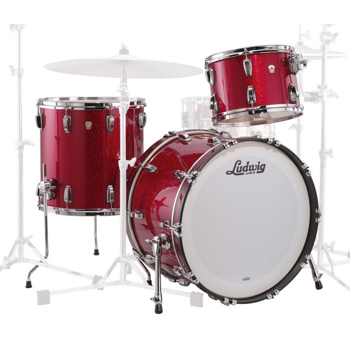 Ludwig Classic Maple Downbeat in Red Angled View