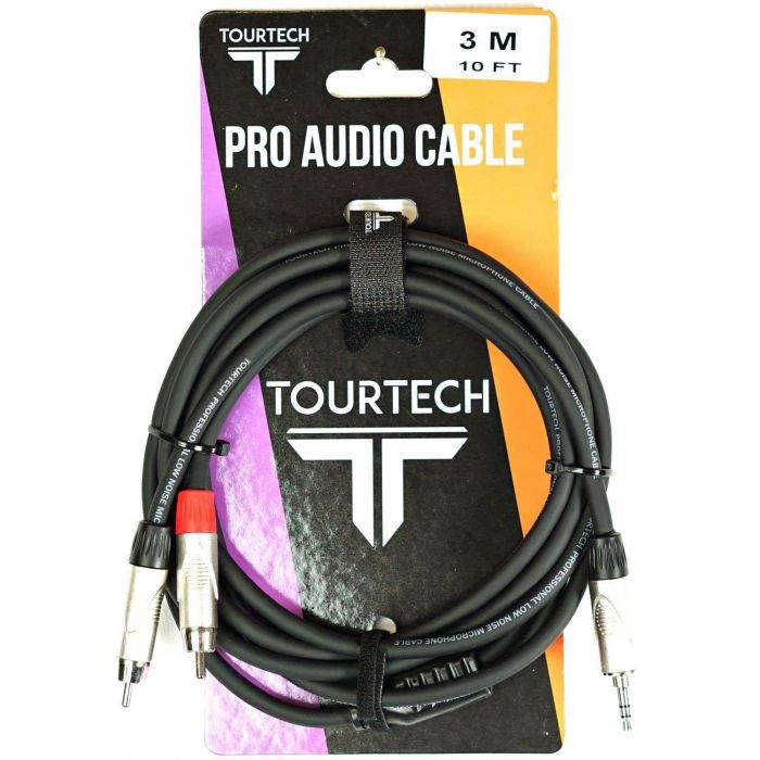 TOURTECH Mini Jack to Dual RCA Phono Cable On Packaging
