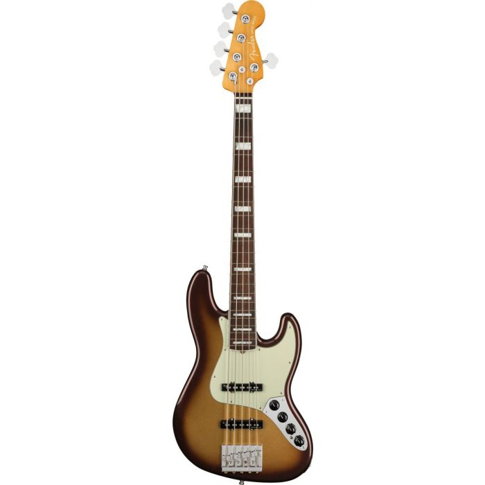 Five stringed Fender American Ultra Jazz bass with a stylish Mocha Burst finish