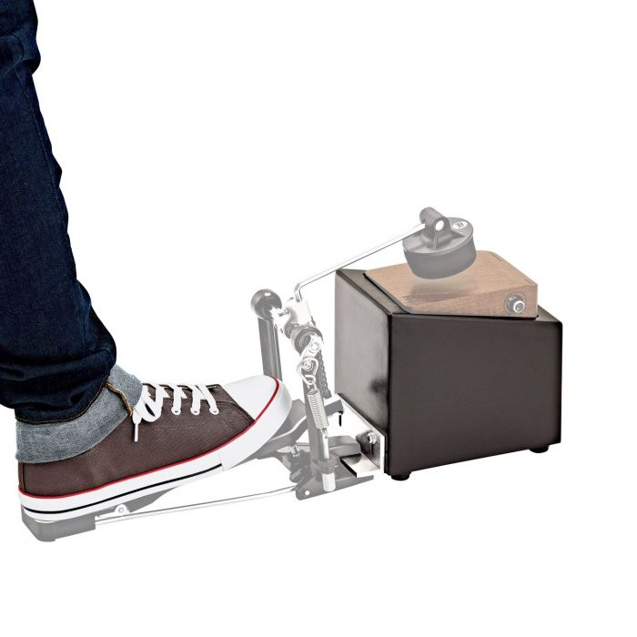 Meinl MPSM Percussion Stomp Box Mount with a stomp box and kick pedal attached (not included)