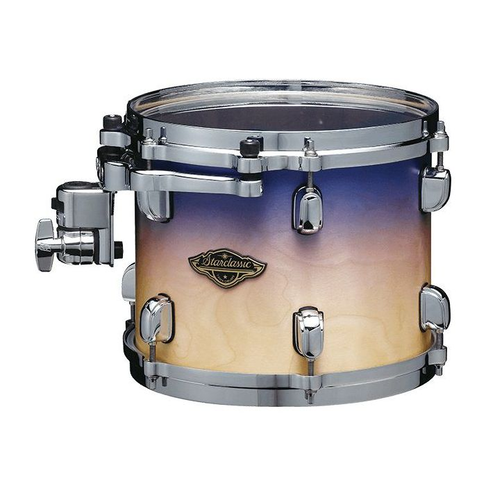 Rack tom from a Tama Starclassic Walnut/Birch shell pack, with a Satin Purple Atmosphere Fade finish
