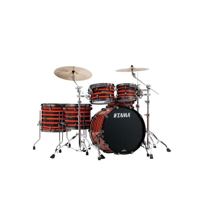 Tama Starclassic Walnut Birch 5pc Shell Pack in Neon Orange Oyster set up as a full kit