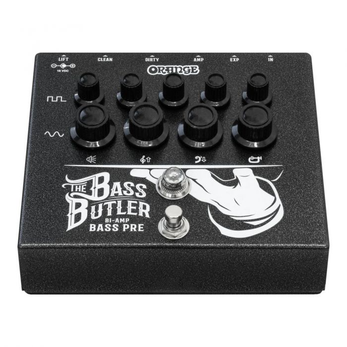 Front angled view of a Orange Bass Butler Bi-amp Bass Preamp Pedal