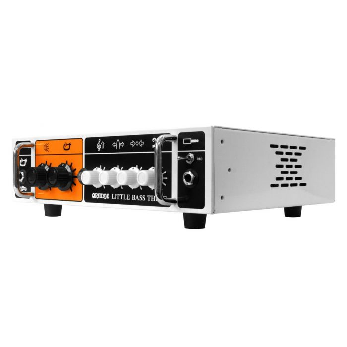 Front right angled view of an Orange Little Bass Thing amplifier head