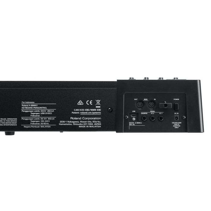 Closeup of the rear panel on a Roland A-88MKII