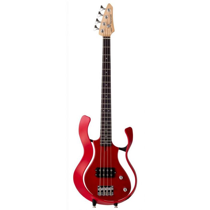 Full frontal view of a Vox Starstream Electric Bass Guitar 1H Red