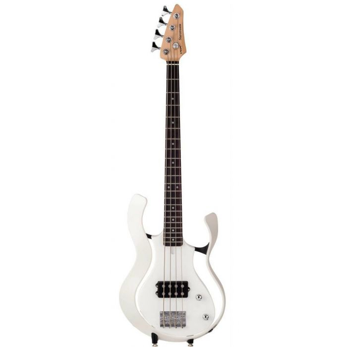 Full frontal view of a white Vox Starstream Electric Bass Guitar 1H