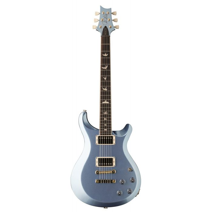 Full front view of a PRS S2 McCarty 594 Thinline Electric Guitar in Frost Blue Metallic