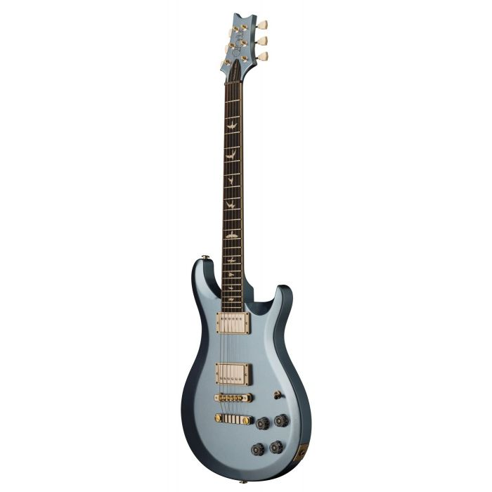 Frotn angled view of a Frost Blue Metallic PRS S2 McCarty 594 Slimline