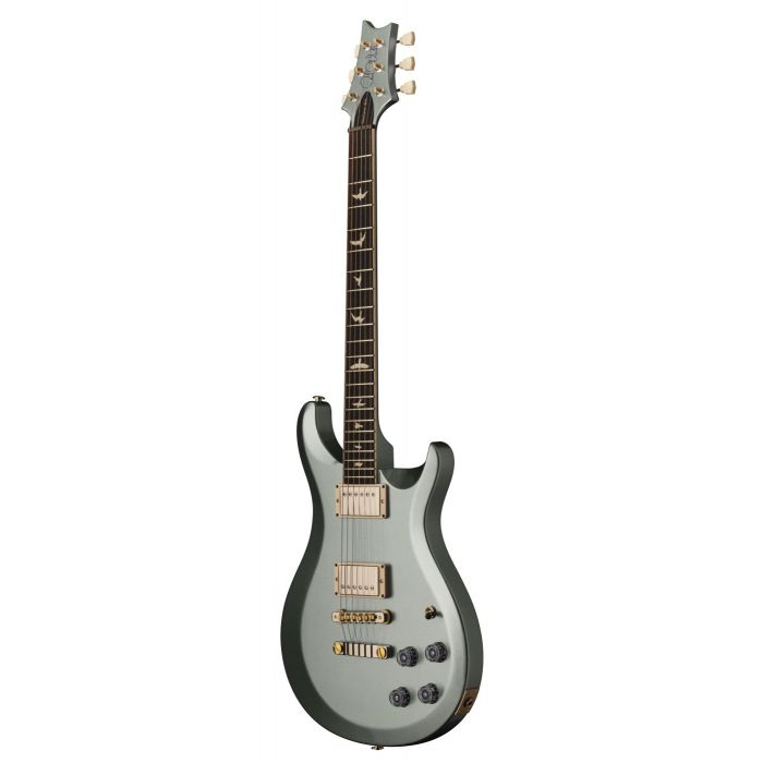 Front angled view of a Frost Green Metallic PRS S2 McCarty 594 Thinline Electric Guitar