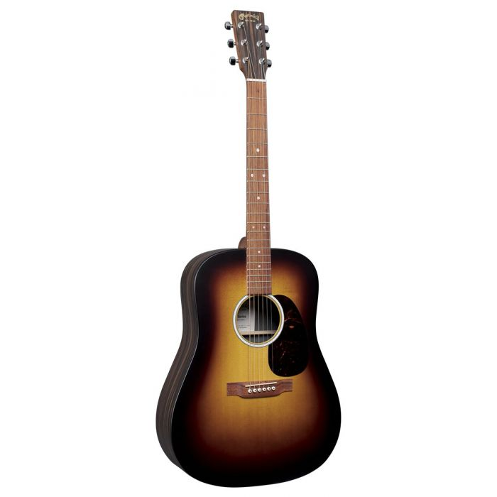 Full view of a Martin D-X2E Burst Electro Acoustic Guitar, with a Sunburst finish