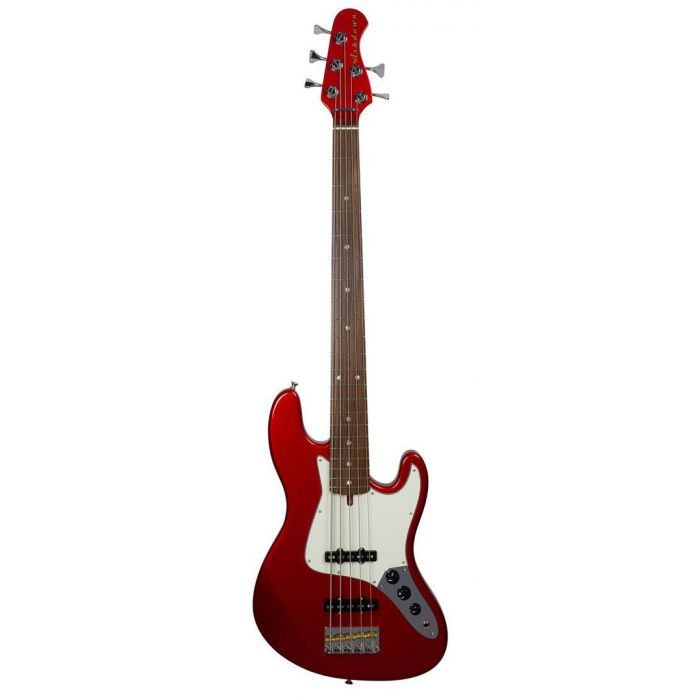 Full frontal view of an Ashdown The Grail 5 Bass Guitar, Candy Apple Red