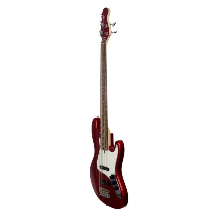 Front right-angled view of an Ashdown The Grail 5 Bass Guitar, Candy Apple Red