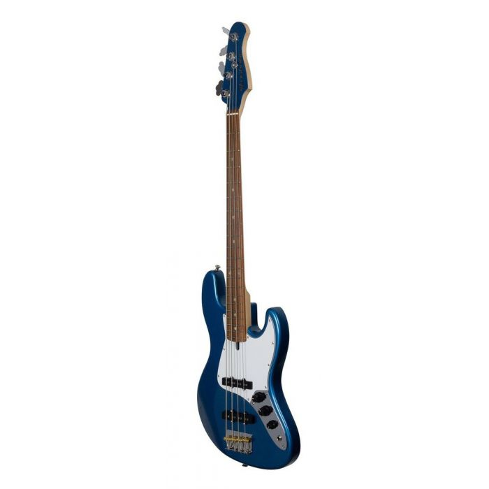 Front right-angled view of an Ashdown The Grail 4 30 Short Scale Bass Guitar, Lake Placid Blue