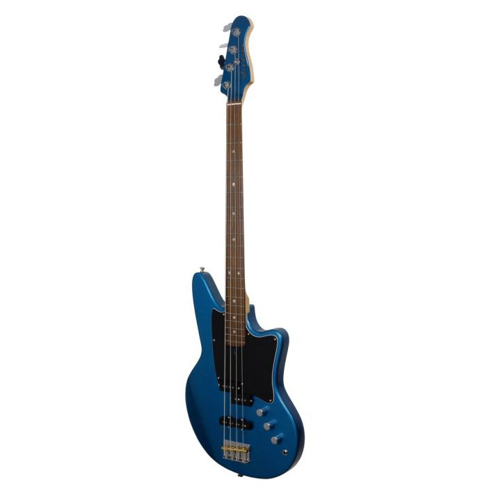 Front right angled view of an Ashdown The Saint 4 Bass Guitar, Lake Placid Blue Metalic