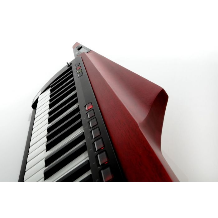 Profile view of a Korg RK100S2-RD Keytar Translucent Red
