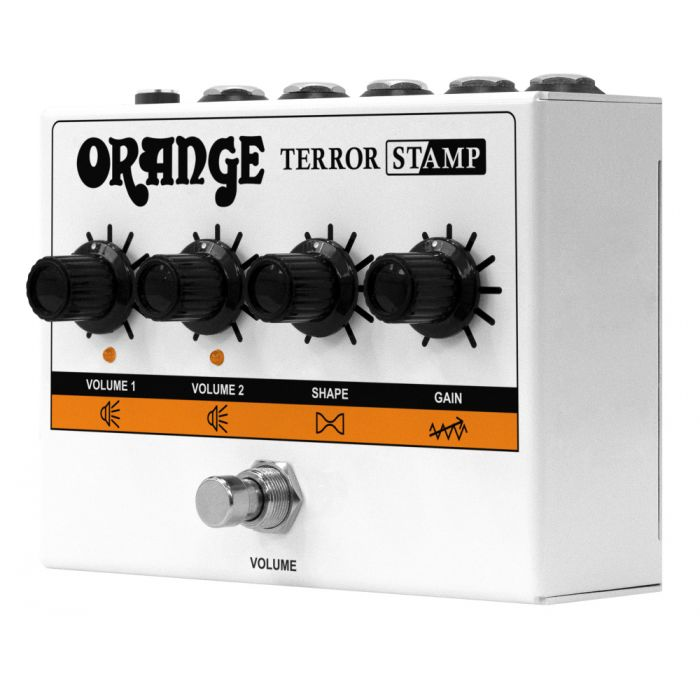 Front angled view of an Orange Terror Stamp - 20w Valve Hybrid Guitar Amp Pedal
