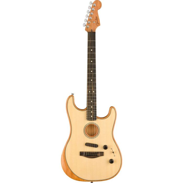 Full frontal view of a Fender American Acoustasonic Stratocaster, Natural