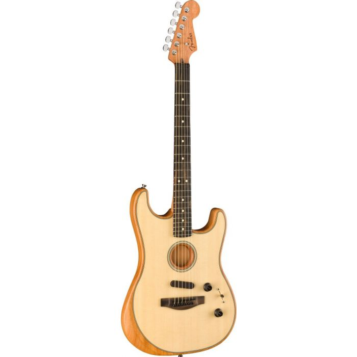Front tilted view of a Fender American Acoustasonic Stratocaster with a Natural finish