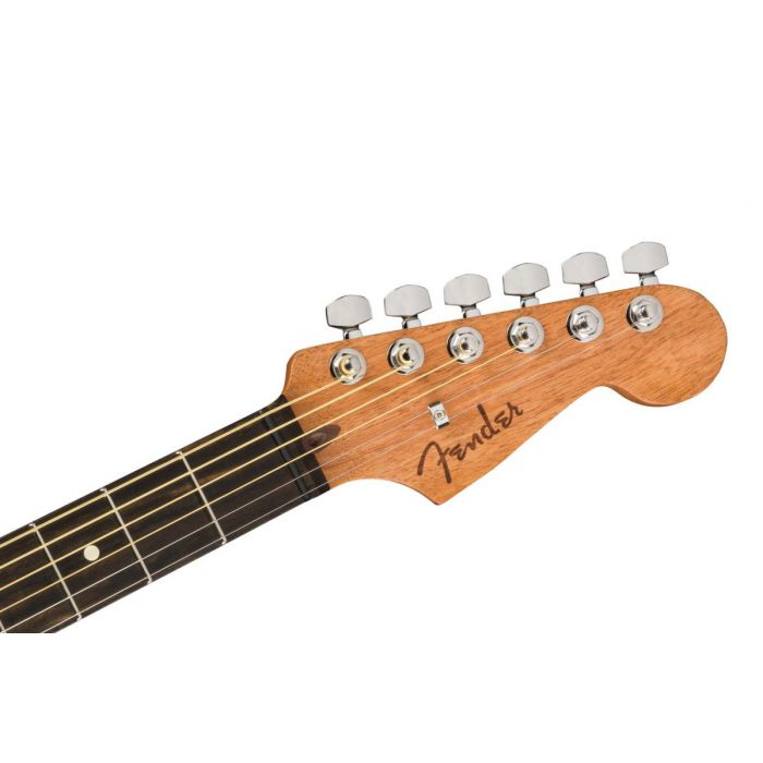 Front view of the headstock on a Fender American Acoustasonic Stratocaster, Natural