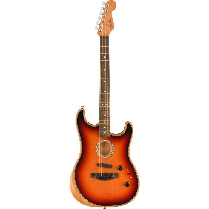 Full front view of a Fender American Acoustasonic Stratocaster, 3-Colour Sunburst