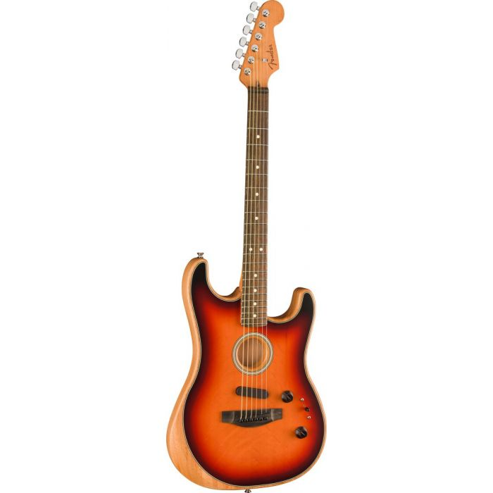 Front tilted view of a Fender American Acoustasonic Stratocaster with a 3-Colour Sunburst finish