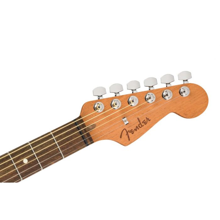 Front view of the headstock on a Fender American Acoustasonic Stratocaster, 3-Colour Sunburst