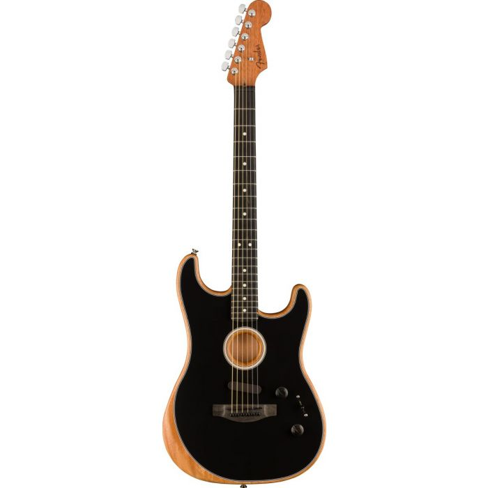 Full frontal view of a Fender American Acoustasonic Stratocaster, Black