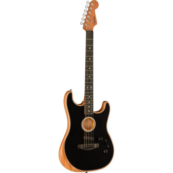 Front tilted view of a Fender American Acoustasonic Stratocaster, with a Black finish