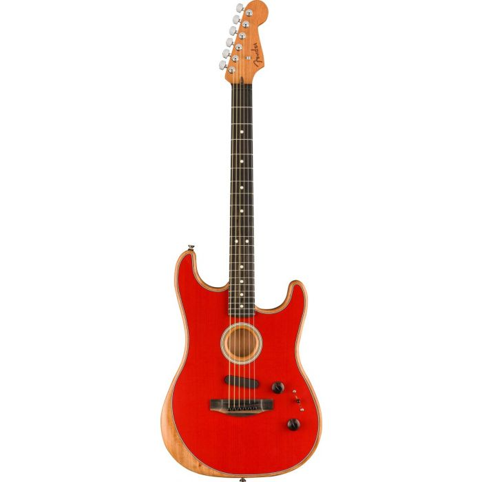 Full frontal view of a Fender American Acoustasonic Stratocaster, Dakota Red