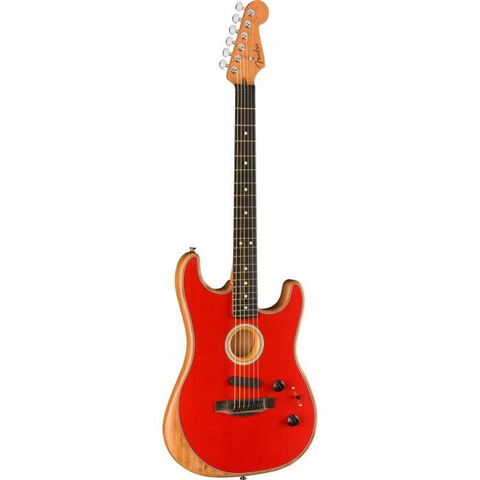 Front tilted view of a Fender American Acoustasonic Stratocaster, Dakota Red