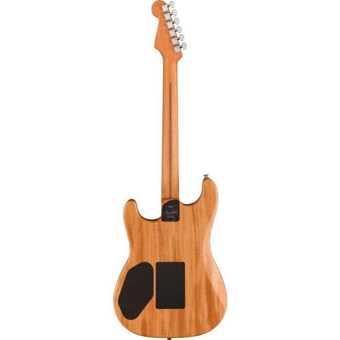 Full rear view of a Fender American Acoustasonic Stratocaster, Dakota Red