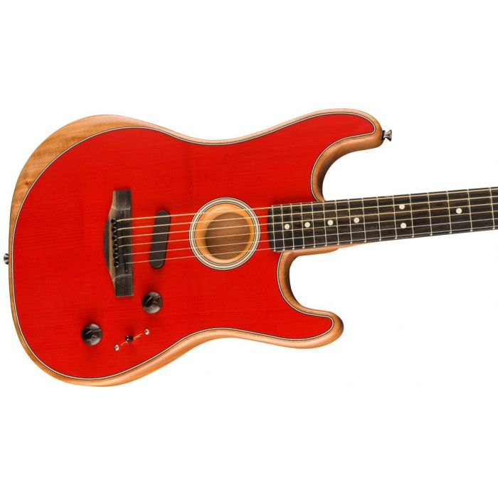 Closeup of the soundhole on a Fender American Acoustasonic Stratocaster, Dakota Red
